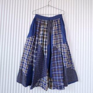 ネルチェックパッチワーク×デニムスカート