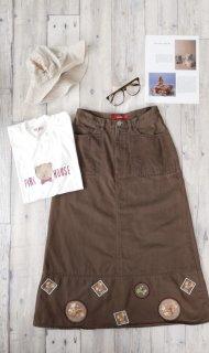 PINK HOUSE リスとどんぐり刺繍ワッペンAラインスカート