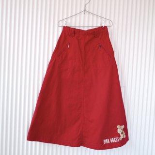 PINK HOUSE テディベア刺繍Aラインスカート/あか