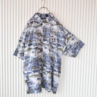 船とカジキの総柄BIGシャツ/3X