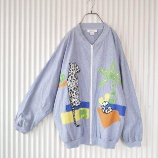 rafael チーター刺繍アップリケ ダンガリーブルゾン