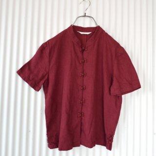PINK HOUSE コットンリネン チャイナシャツ/暗赤