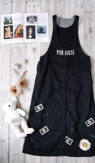PINK HOUSE マーガレット刺繍×ワッペン フロントボタンジャンパースカート