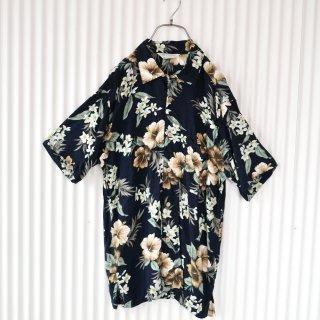 フラワーパターンレーヨンシャツ/Black