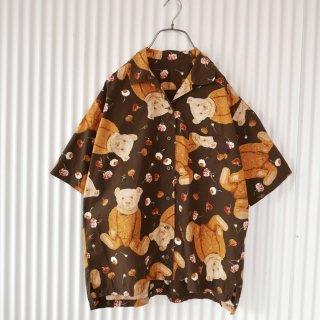 WONDERFUL WORLD フラワーテディシャツ/ブラウン