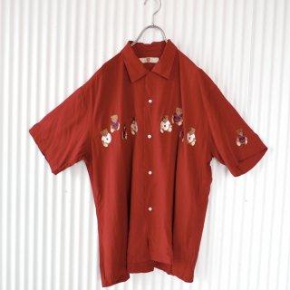Karl Helmut くまちゃん刺繍BIGレーヨンシャツ/LL