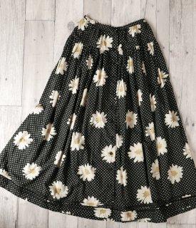 PINK HOUSE マーガレット×黒白ドット ギャザーロングスカート