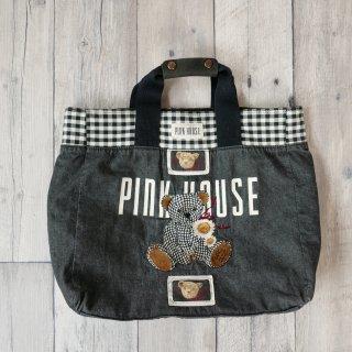 PINK HOUSE マーガレットテディ刺繍×くまちゃんワッペントートバッグ