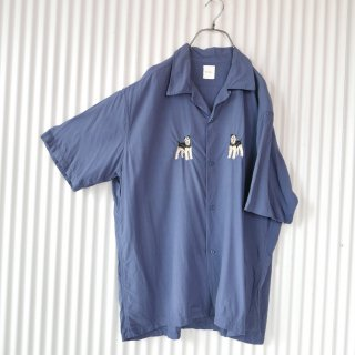 Karl Helmut 白黒シュナウザー刺繍RAYONシャツ