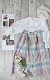 ALFRED DUNNER ミルキーチェックフロントボタンスカート/USA