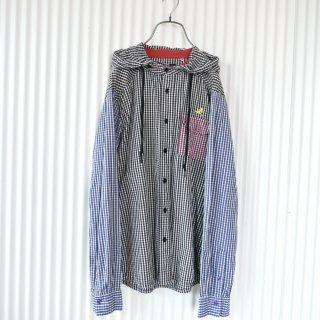 Play Cloths クレイジーパターンチェックシャツフーディ