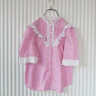 Pearlette フラワーコットンレース ギンガムチェックブラウス/ピンク