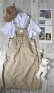 PINK HOUSE ロゴ刺繍×チェック ジャンパースカート/ミルクティ