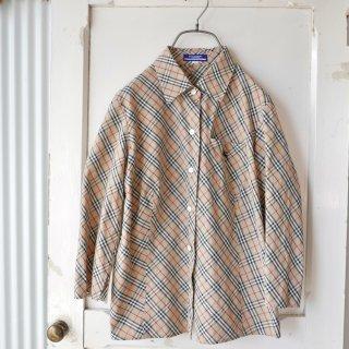 Burberry BLUE LABEL ホースマーク刺繍チェックシャツ