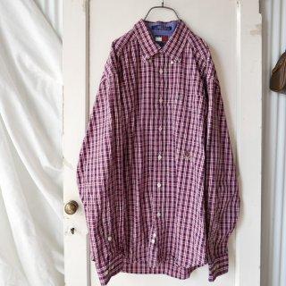 TOMMY HILFIGER エンブレム刺繍B.D チェックシャツ