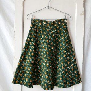orange flower×dot フレアーコーデュロイスカート