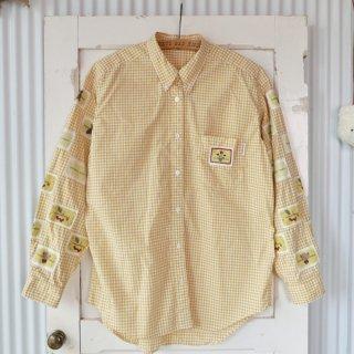 WONDERFUL WORLD 袖ワッペン ギンガムチェックB.Dシャツ