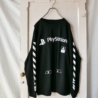 Play Station 袖ラインロンTee/Black
