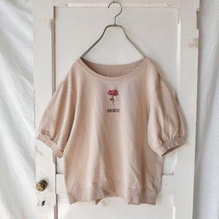 PINK HOUSE  カーネーション×ロゴ刺繍 ハーフパフスリーブスウェット