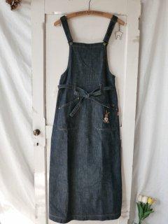 PINK HOUSE Tシャツうさぎ刺繍 カフェエプロン風ジャンパースカート