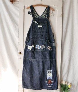 PINK HOUSE くまちゃん×フルーツワッペン エプロンポケットジャンパースカート