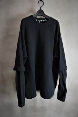 <img class='new_mark_img1' src='https://img.shop-pro.jp/img/new/icons8.gif' style='border:none;display:inline;margin:0px;padding:0px;width:auto;' />A.F ARTEFACT Sweat×Jersey Combi Damage Pullover