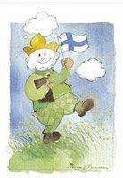 フィンランド・くもと国旗・ポストカード
