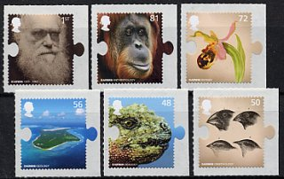 イギリスの切手・ダーウィン生誕200年・2009(6)セルフ糊