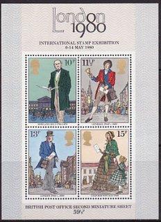 イギリスの切手・ロンドン国際切手展二次・小型シート・1980(4)