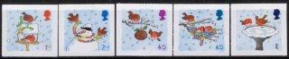 イギリスの切手・クリスマス・雪と小鳥・2001(5)セルフ糊