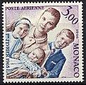 モナコ・グレース公妃と子供たち・切手・1966