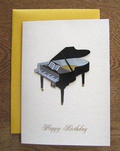 バースデイカード・切り紙・ピアノ