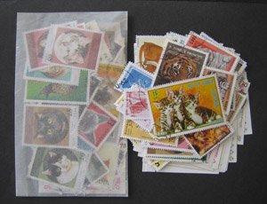 パケット切手・ネコ科・約100枚(ライオン・トラもあり)