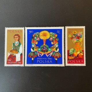 ポーランドの切手・花飾り・1966(3)
