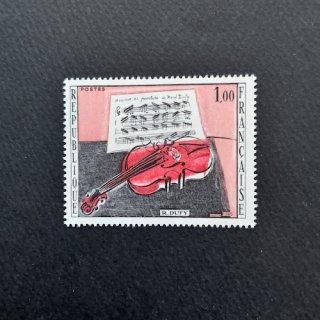 フランス・美術切手・デュフィ・赤のバイオリン・1965