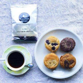 米粉マフィン×4 / コーヒー豆100g×1 (お家でマフィン×コーヒーセット)