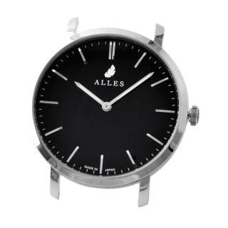 アレス ALLES wwas391h01d03  【日本製 クォーツ】 腕時計用ヘッド バーインデックス シルバー×ブラック 39mm ヘッドのみ ベルト別売り