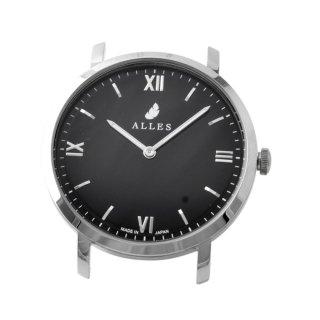 アレス ALLES wwas391h01d04  【日本製 クォーツ】 腕時計用ヘッド ローマインデックス シルバー×ブラック 39mm ヘッドのみ ベルト別売り