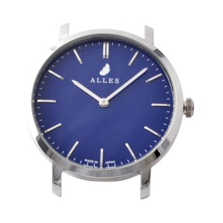 アレス ALLES wwas391h01d05  【日本製 クォーツ】 腕時計用ヘッド バーインデックス シルバー×ネイビー 39mm ヘッドのみ ベルト別売り