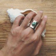 Little Earth Ring Flat Open /Royston Turquoise 3