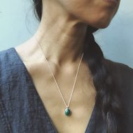 Egyptian Turquoise Drop Necklace /silver chain 1