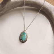 Little Earth Necklace Gold Rim /Royston Turquoise 1