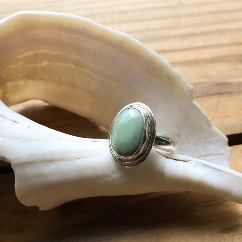 Little Earth Ring Gold Rim /Royston Turquoise 4