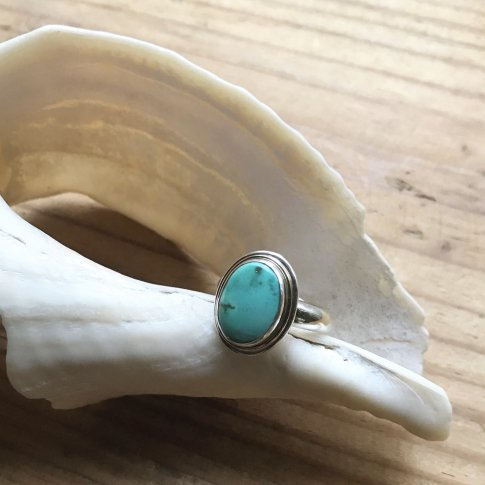Little Earth Ring Gold Rim /Carico Lake Turquoise 2