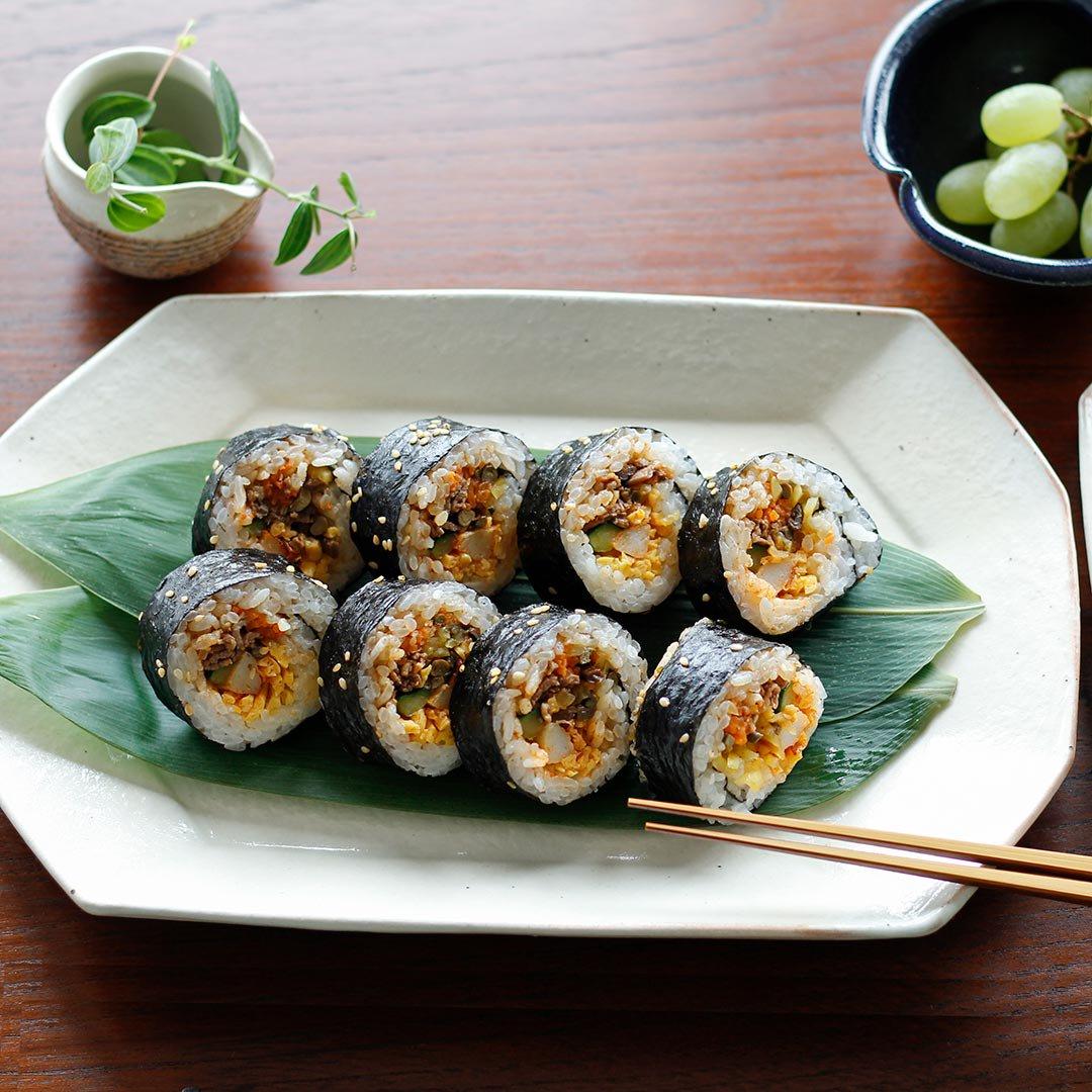 八角プレート サビ釉 / 古谷製陶所