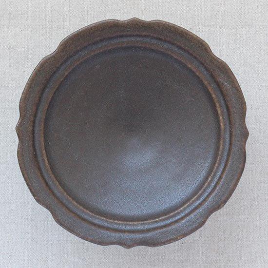 彫刻コンポート皿18cm サビ釉  / 古谷製陶所