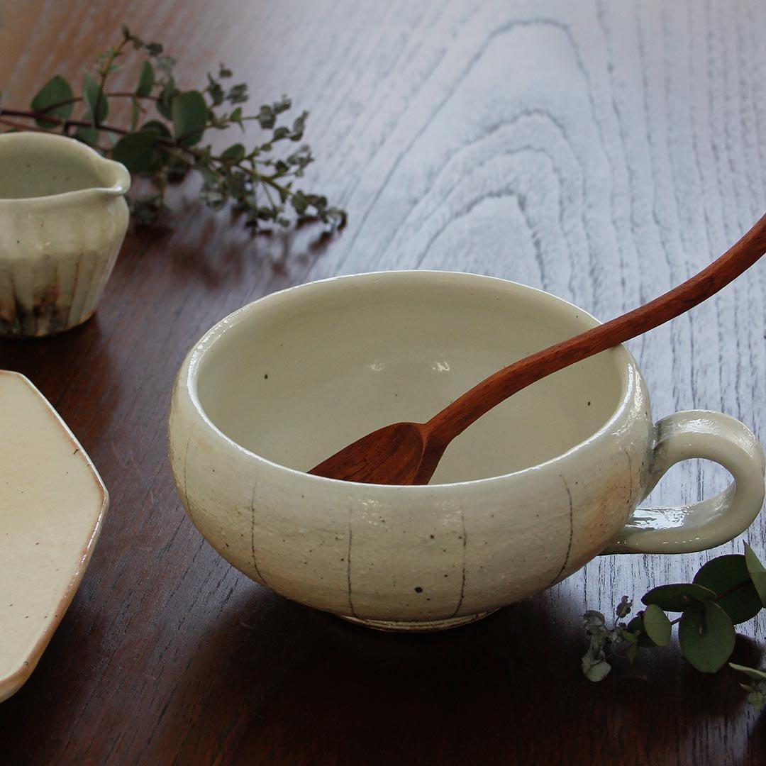 スープカップ手付丸 たて鉄線 / 古谷製陶所