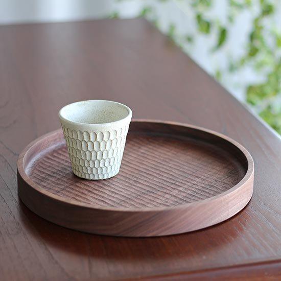 丸盆 ブラックウォールナット 24cm / 堀宏治
