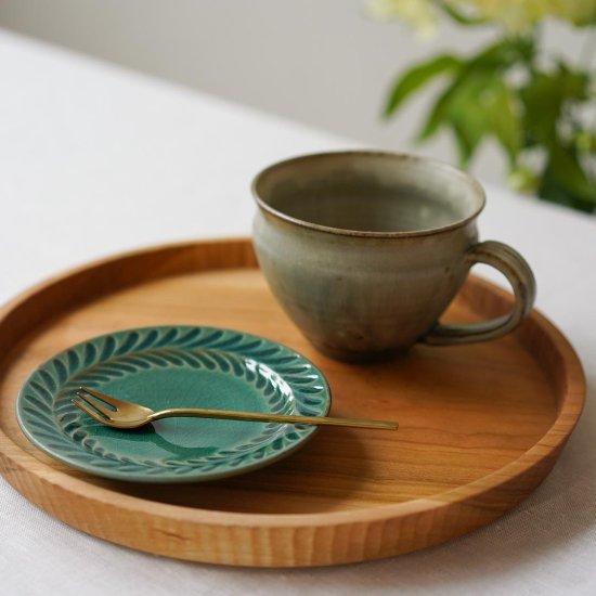 4寸葉紋皿 トルコブルー / 市野耕