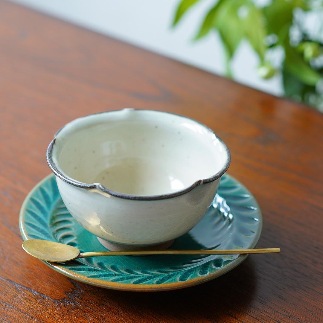 5寸葉紋皿 トルコブルー / 市野耕